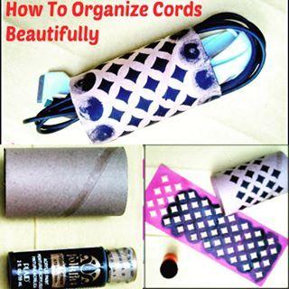 Organize phone cords/cables with tp roll! #upcycling project via @kkCreativeMind #sundaysdownunder