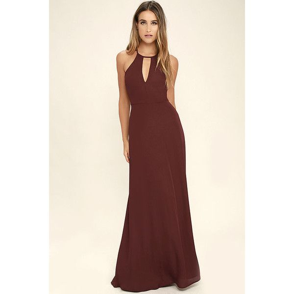 Beauty and Grace Burgundy Maxi Dress ($84) ❤ liked on Polyvore featuring dresses, red, burgundy maxi dress, red dress, maxi skirts, halter dress and racerback maxi dresses