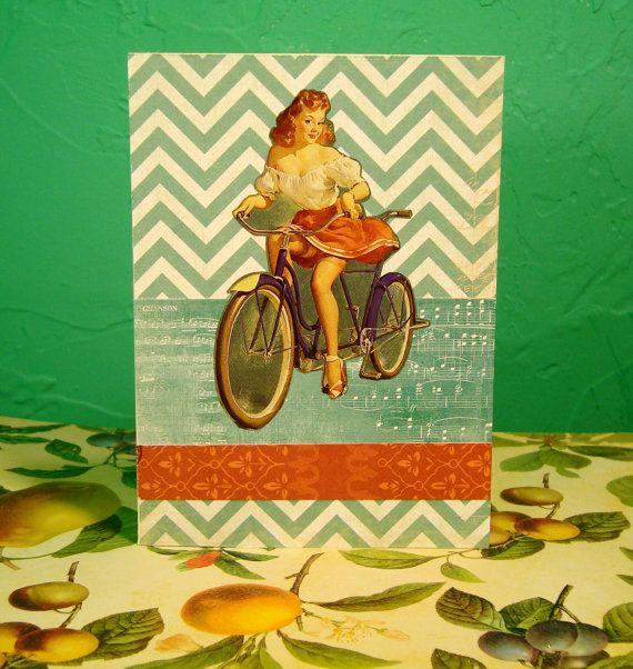 Redhead Pin Up Girl on Bicycle Blank Handmade Card by HauteFuss, $3.25