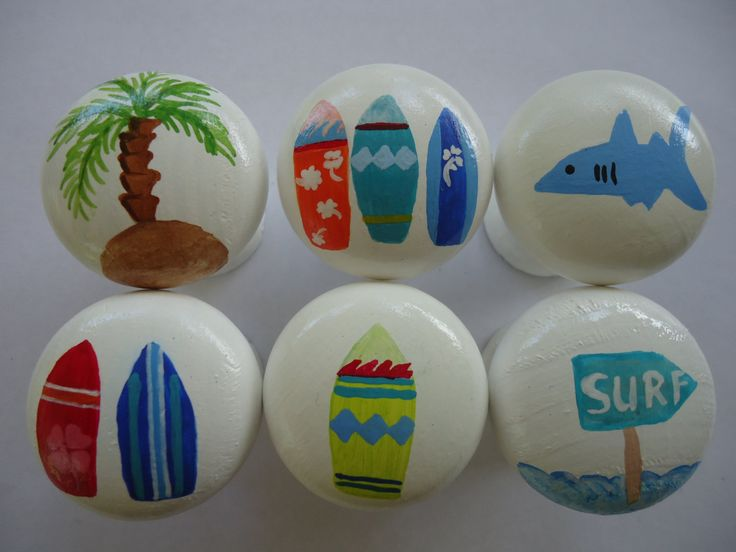 Handpainted Wooden Drawer Surfer Knobs - Set of 6 by MYMIMISTAR on Etsy