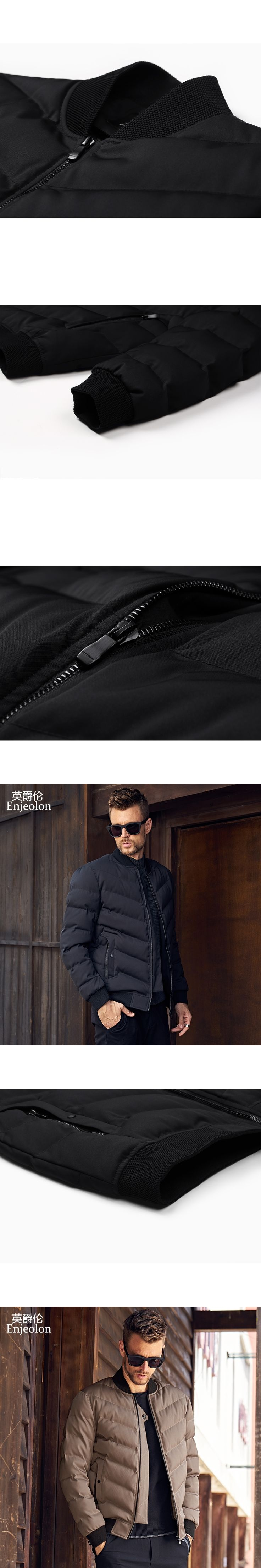 Enjeolon Brand new Cotton Padded Jacket coat Men stand collar Windproof Parka black solid Thick Quilted Coat Men MF0284