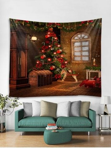 Christmas Tree Print Tapestry Wall Hanging Art Decor dinning room