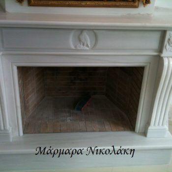 Fireplaces - Dionyssos Marble. Επενδύσεις Τζακιών Αετός - Μάρμαρο Διονύσου.
