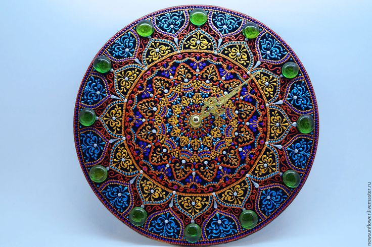 Купить Часы настенные Подарок (Часы точечная роспись)Сады Раджастана - часы настенные, часы интерьерные
