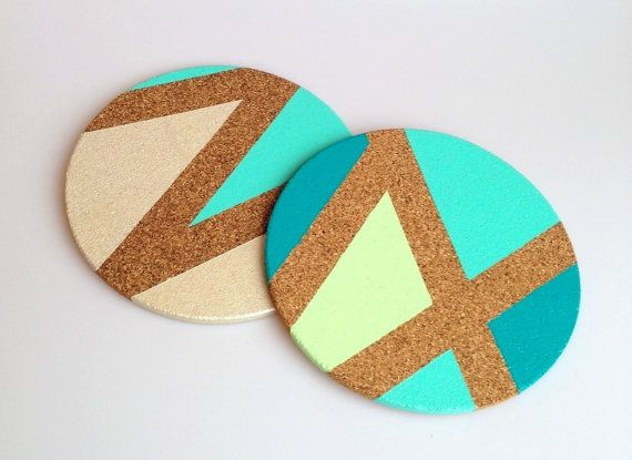 hand painted cork trivets