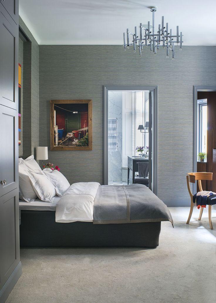 Master bedroom by www.birgittorne.com Sulla chair by Svenskt Tenn