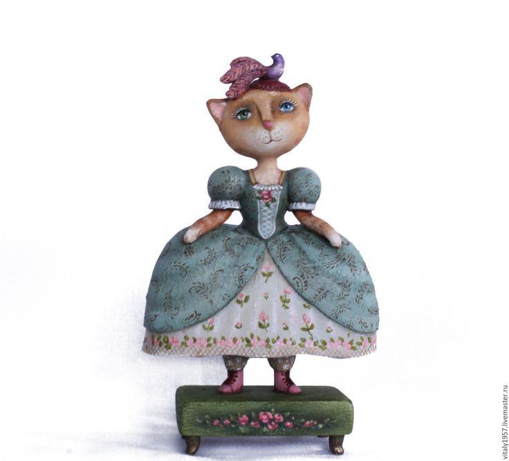 Купить Кошка в платье мятного цвета . Скульптура дерево ручная роспись - кошечка, скульптура, дерево