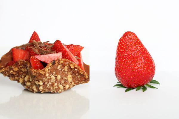 Karamelkurv med jordbær