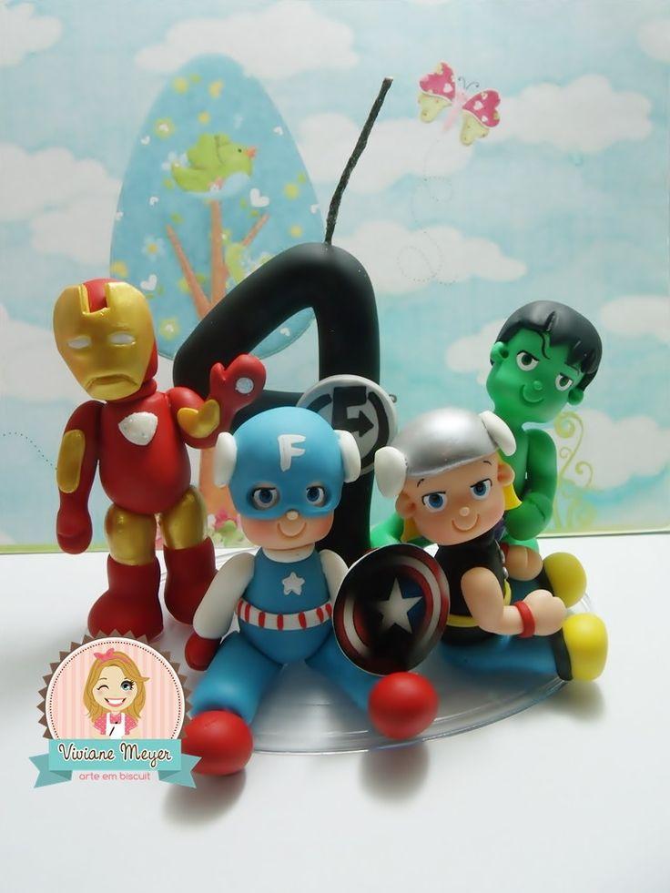 vela Avengers Super Heróis | Viviane Meyer Arte em Biscuit | Elo7