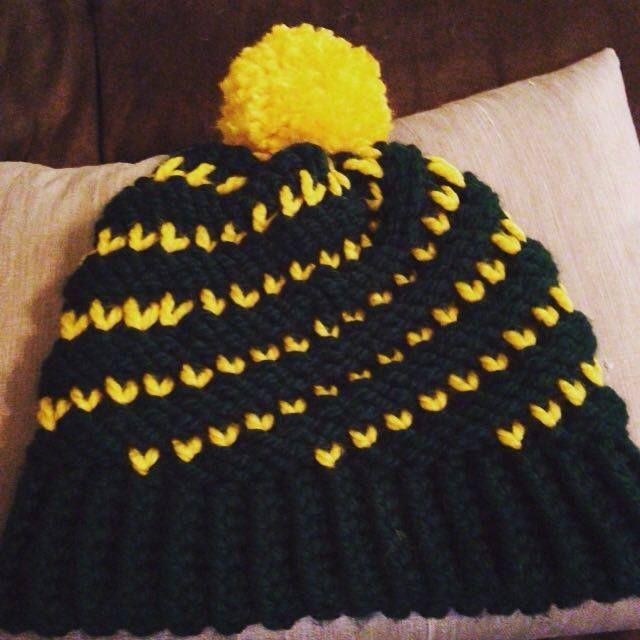 Loom knitted bicolor spiral hat by Herlinda G.