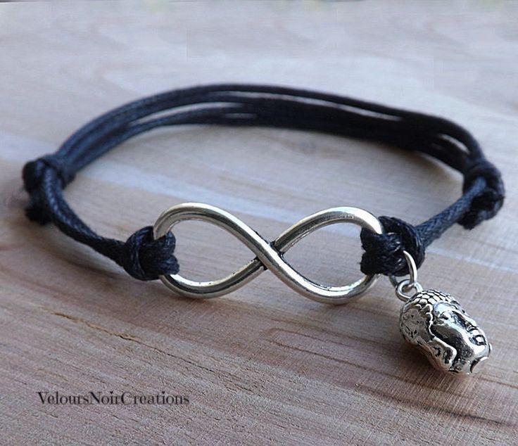 Infinity symbol bracelet with buddha by Velours Noir Crèations, 8,00 € su misshobby.com
