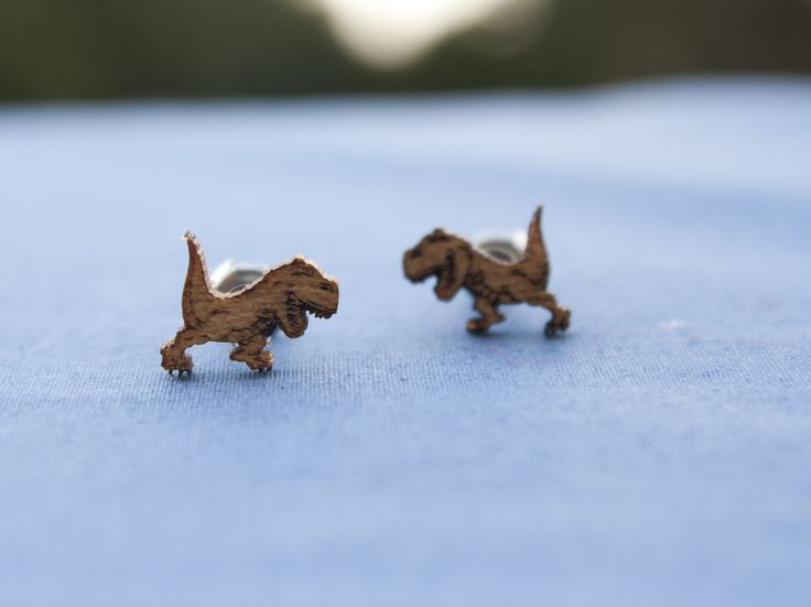 T-Rex cedar stud earrings - $15