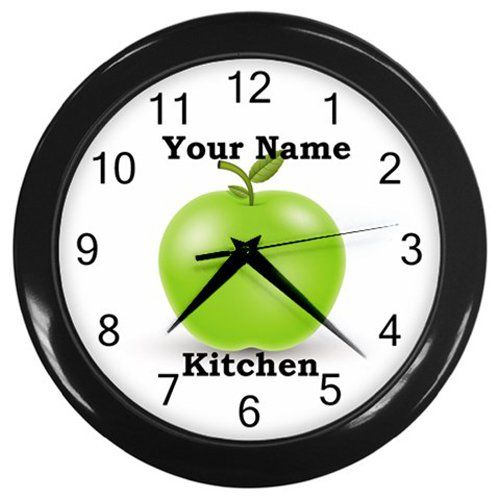 Personalized+Green+Apple+Black+Frame+Kitchen+Wall+Clock