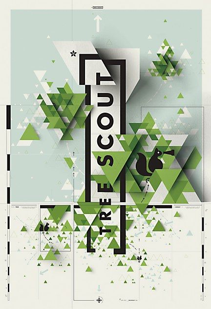 Tree Scout. Poster. Eric Karnes. Asymmetrical balance, with the appearance of many