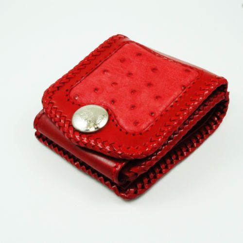 PINK OSTRICH & COW LEATHER HANDCRAFTED BIFOLD WALLET PURSE hcsw-1p