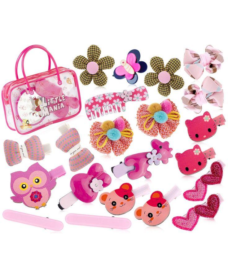 Набор аксессуаров для волос Розовый зоопарк (с косметичкой) Little Mania (арт.21169685) Цвет: мультиколор В комплекте: косметичка, зеркало, расческа, 21 заколка