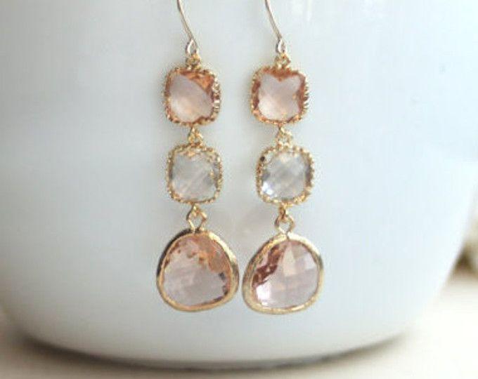 Peach Champagne Earrings. Clear Glass, Gold Framed Peach Glass Drop Dangle Long Earring. Modern Everyday. Wedding Bridal Bridesmaid Earring