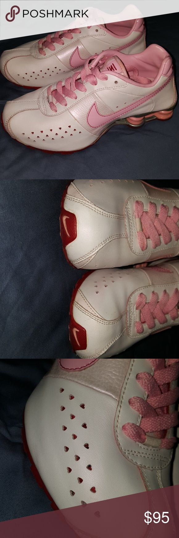 Vintage Nike Valentine's Day Shox (Stil brand new) Like having stuff that no one else does?? Check out these Vintage Nike Valentine's Day Shox, still new in box (only worn 2x's) size 5.5 big kids, or 7 ladies. Not even broken in yet. The air holes are hearts- they are light pink, opaque pink, & red. Orig pd $129.00.. I bought these shoes 14 years ago & have only worn them twice... I couldnt get comfy in them (Im an Air-Max girl) but was too in love w/them to get rid of. Now that I've broken…
