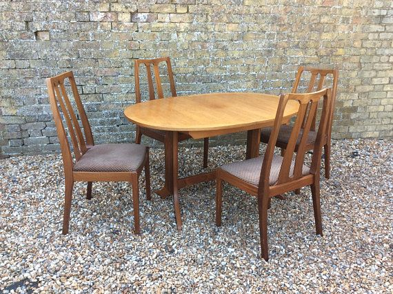 mid century 1960s Nathan teak dining table and four chairs