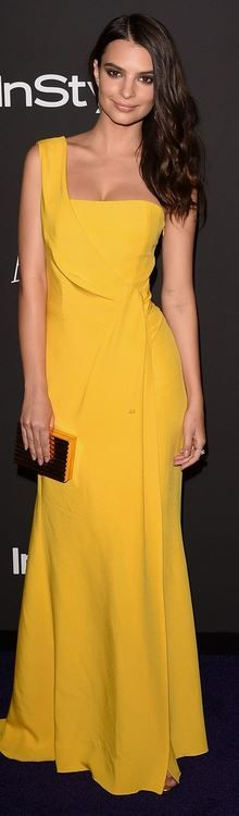 Who made  Emily Ratajkowski's yellow one shoulder gown and gold clutch hanbag that she wore in Beverly Hills?