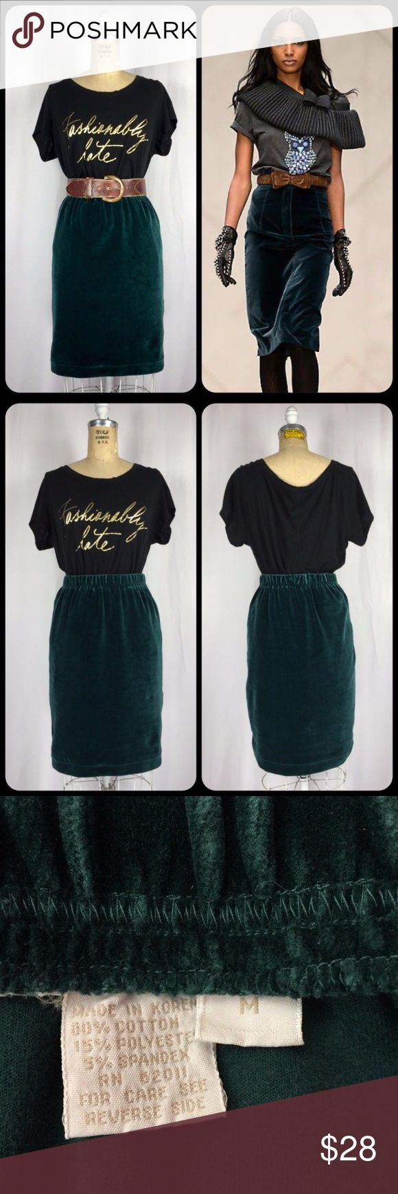 """Vintage Emerald Stretch Velvet Velour Pencil Skirt Vintage Emerald Green Stretch Velvet Velour Pencil Skirt. Excellent vintage condition. Stretch Stretch cotton blend velour. Full elastic waistline. Unlined. Machine washable. Labeled a Medium. Measurements of the item in inches when flat: Waist: 13""""- 17"""" Hips: 18"""" Hemline: 17"""" Length: 21"""" Feel free to contact me with any questions you may have. Please take a look at my other unique listings too. Thanks! Styling inspiration Burberry…"""
