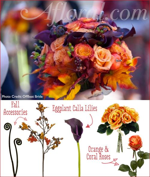 Fall wedding bouquet DIY. All you need is orange and coral roses, eggplant calla lilies, and fall accessories to recreate this gorgeous wedding bouquet for your fall wedding!