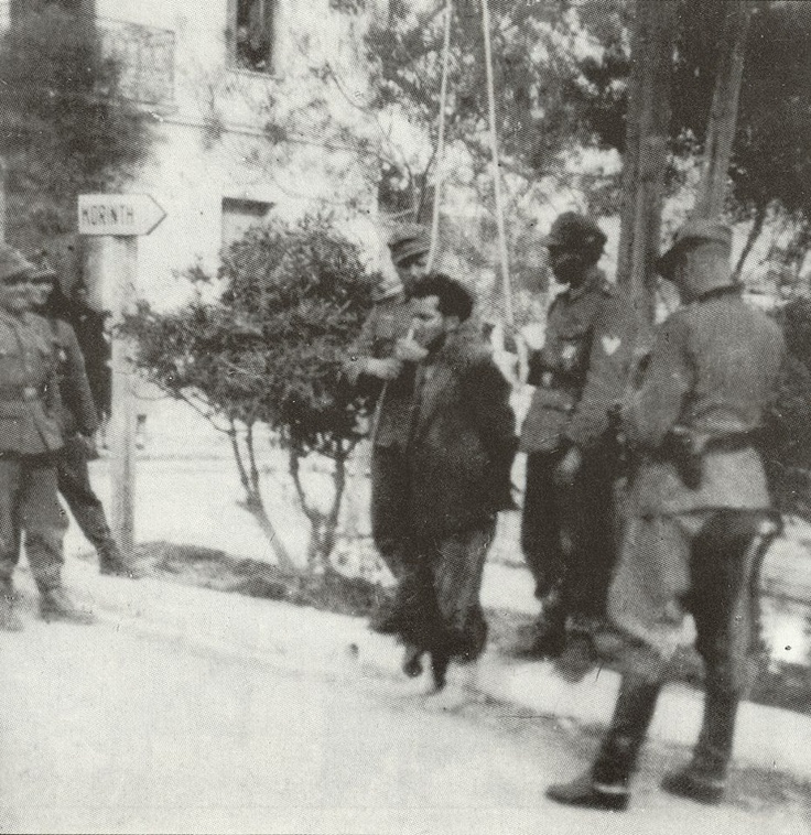 Greece, 1941-1944. German occupation forces preparing the execution by hanging of a Greek resistant.