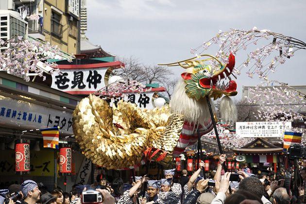 The Golden Dragon Dance of Senso-Ji in Tokyo