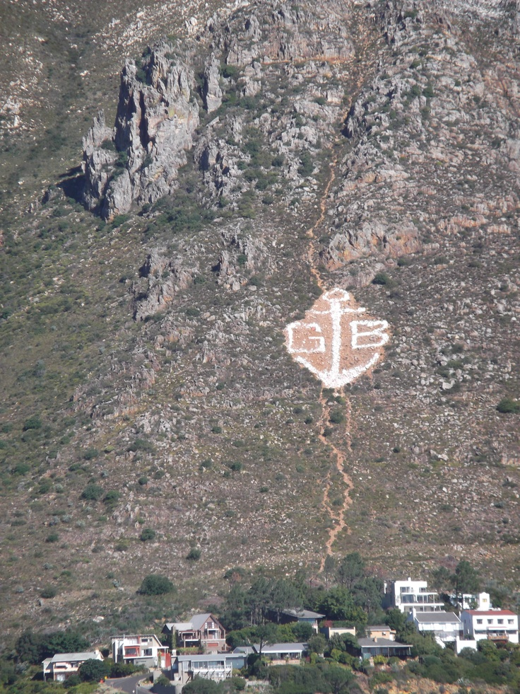 Gordon's Bay - well known white stone anchor against Hottentots-Holland mountain range above the town.