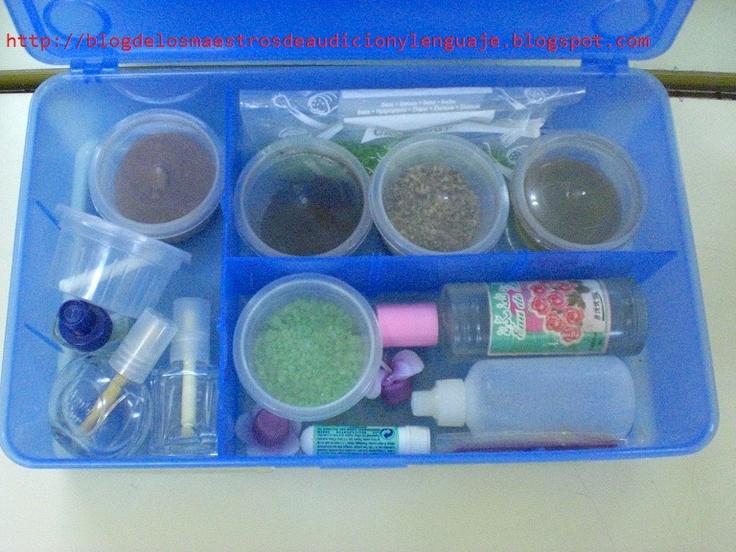 Caja estimulación de la respiración: colonia, menta, esencias de baño, vinagre, café, laurel, ambientadores, velas, etc