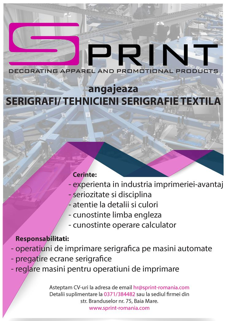 @sPrintTextile is #Hiring #Screenprinters. Send us your #Resume at hr@sprint-romania.com . Click for details http://bit.ly/1UE5j5b