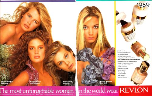Revlon campaign from 1989 with Claudia Schiffer, Rachel Hunter, Paula Abbott and Rachel Williams