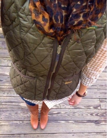 green vest, leopard print scarf, tan gingham shirt