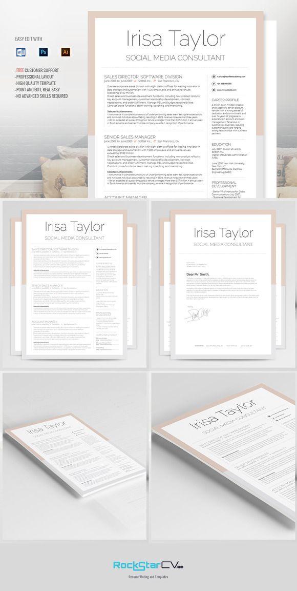 Creative Resume Template   Irisa @creativework247  Creative Resume Ideas