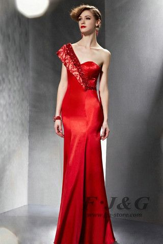 2014 Red Sequined One Shoulder Backless Mermaid Dress 30625