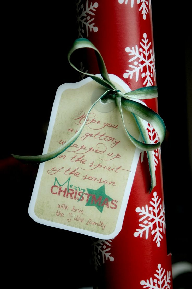 """EASIESTAnd finally the easiest idea (and what I'm doing for some of my neighbors this year)...Simply a roll of Christmas wrapping paper and a tag.The tag says, """"We hope you are getting wrapped up in the spirit of the season. Merry Christmas! with love, the _____ family""""I LOVE this idea because it is something they can USE and may make the holidays just a little easier for them (am I the only one who has run out of wrapping paper on Christmas Eve?!)Just make sure you get it to them before…"""