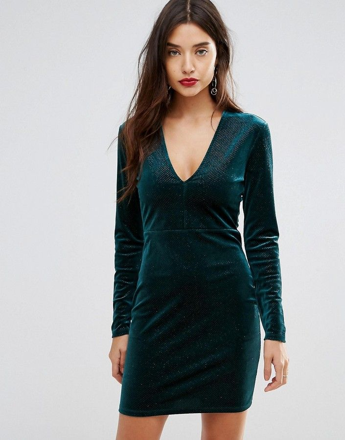Christmas #affiliatelink #christmas #holidays #partydress #christmasparty   Ivyrevel Deep V Pleated Velvet Mini Dress