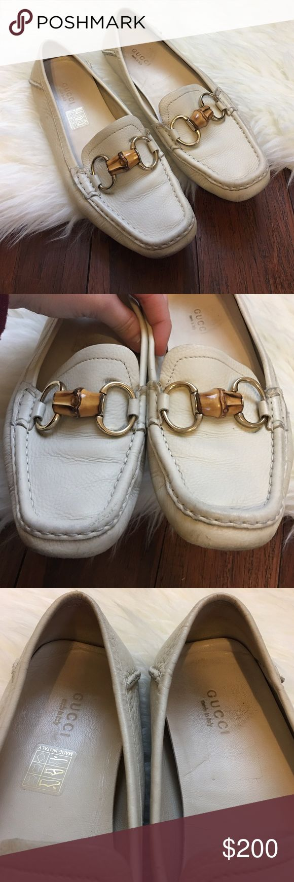 | Gucci | Ivory Bamboo Driver Loafer Moccasins 100% authentic! In excellent used condition. Wear is shown mostly on the bottom. Some wear on the toe area and under the metal. But nothing you can notice when wearing. Extremely comfortable shoe! Buttery soft leather. Made in Italy. Size 36.5. Gucci Shoes Flats & Loafers