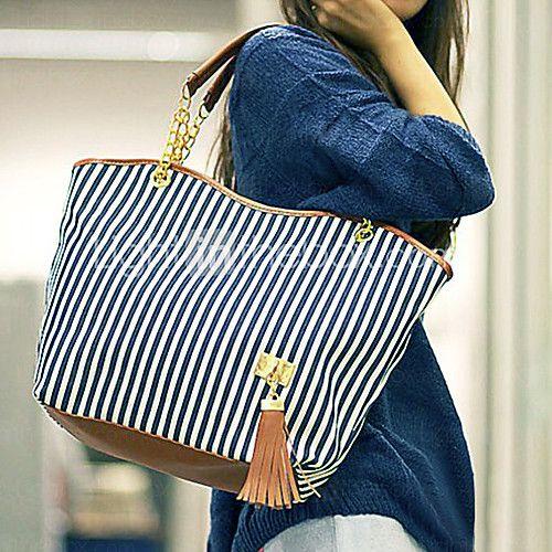 fenzhe kvinders elegante lærred mode håndtasker skuldertasker - DKK kr. 60