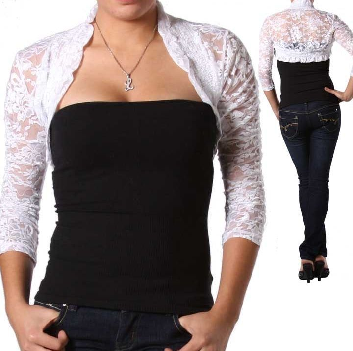 White 3/4 Sleeve Stretch Lace Smocked Bolero/Shrug/Cardigan S ...