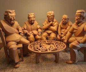 Levensgrote kartonnen sculpturen van Chinese dorpelingen
