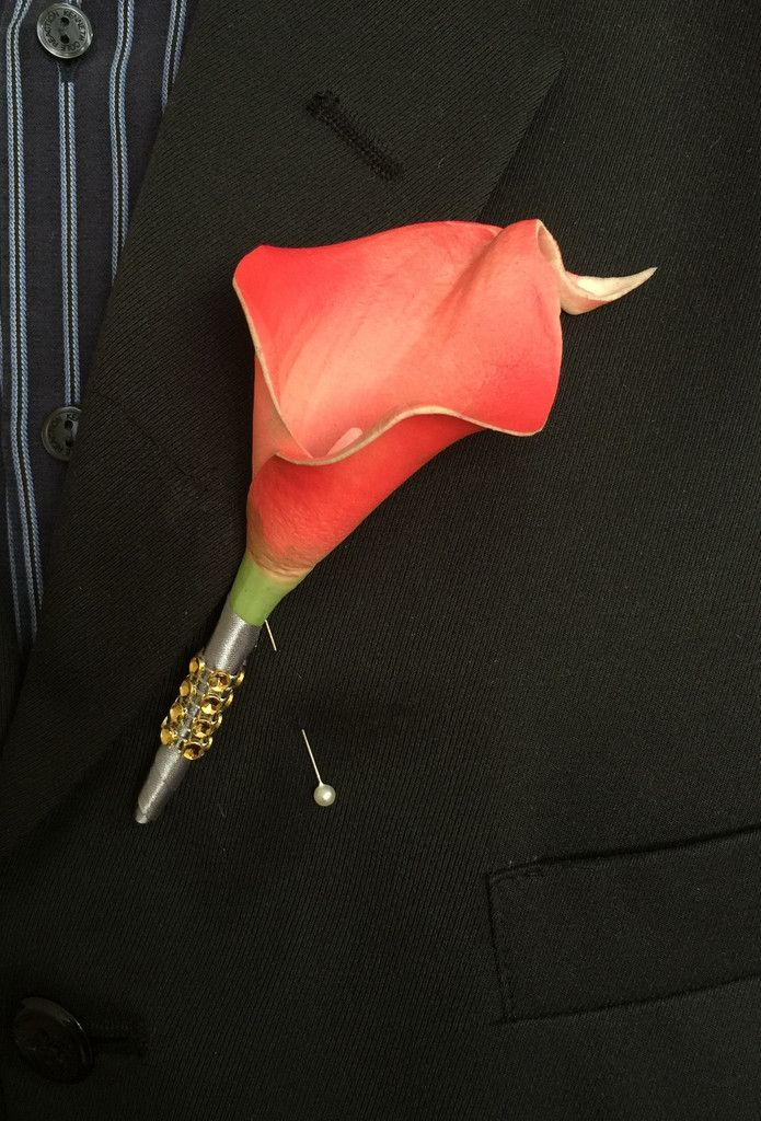 Boutonniere-Coral Calla lily With Gray ribbon and Gold Bling