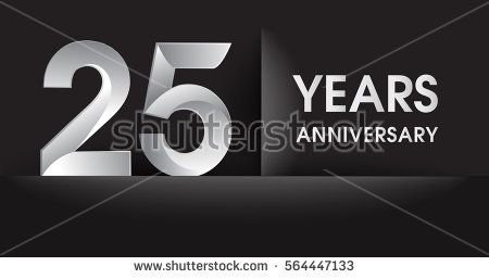 twenty five years Anniversary celebration logo, flat design isolated on black background, vector elements for banner, invitation card for celebrating 25th birthday party