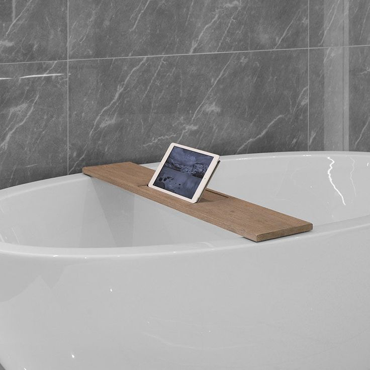 Looox Wood Collection eiken badplank met tablethouder