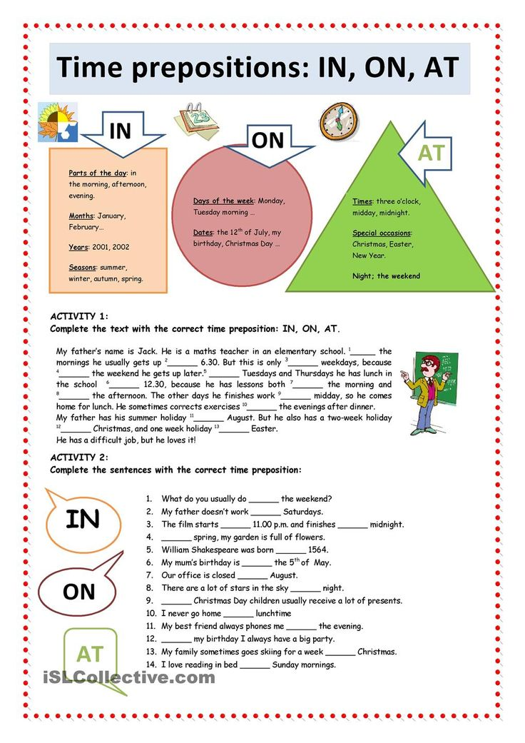 Time Prepositions IN, ON, AT English prepositions