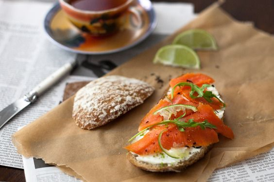 tea cured salmon - i omitted the cream :)  if your fish comes out too salty, just soak the filet in water, until the flavor reaches your taste.  loch duart makes for a juicy lox, wild alaskan king for more salmon-y taste.