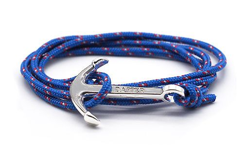 The Conrad Sky Blue Silver Anchor Rope Bracelet