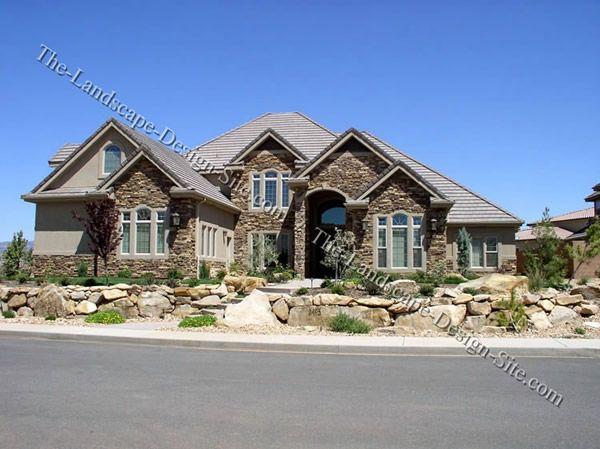 Rock Garden Hillside Front Yard House Rock Placement