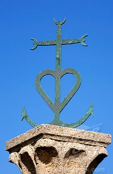 The Camargue Cross is the emblem of the church of Saints Maries-des-la-Mer in Camargue in the South of France.