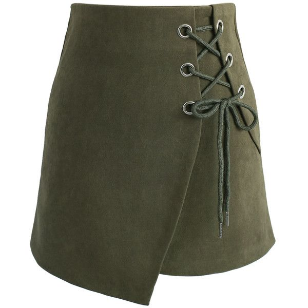 Chicwish Lace-up Charisma Flap Skirt in Army Green (£34) ❤ liked on Polyvore featuring skirts, green, lacy skirt, lace skirt, asymmetrical skirt, knee length lace skirt and green asymmetrical skirt
